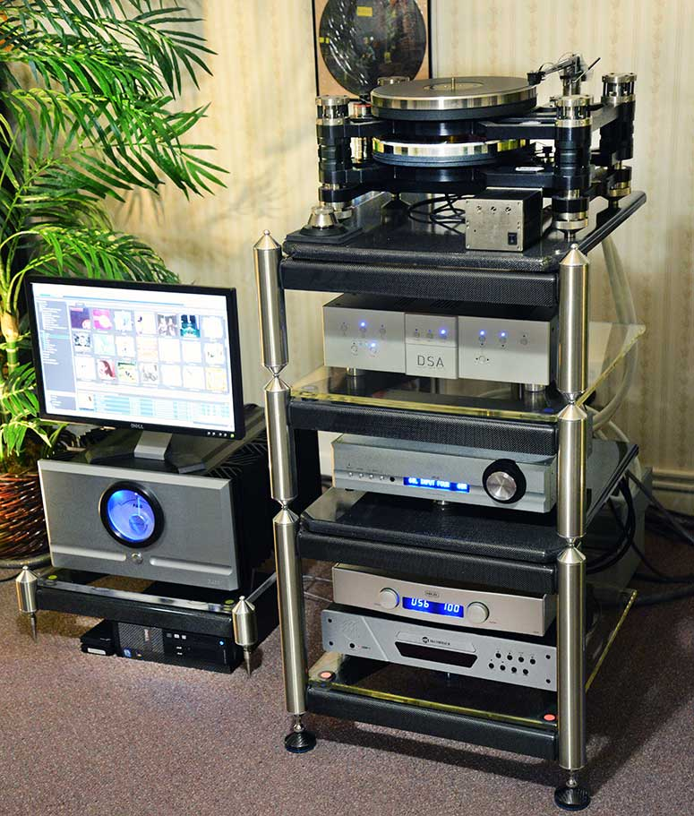 Close up of the equipment stands and Music Server