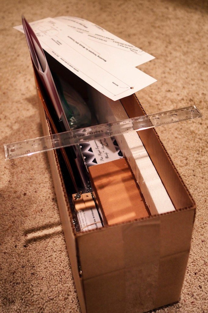 Shipping box containing 12.5-inch Woody SPU Tonearm.