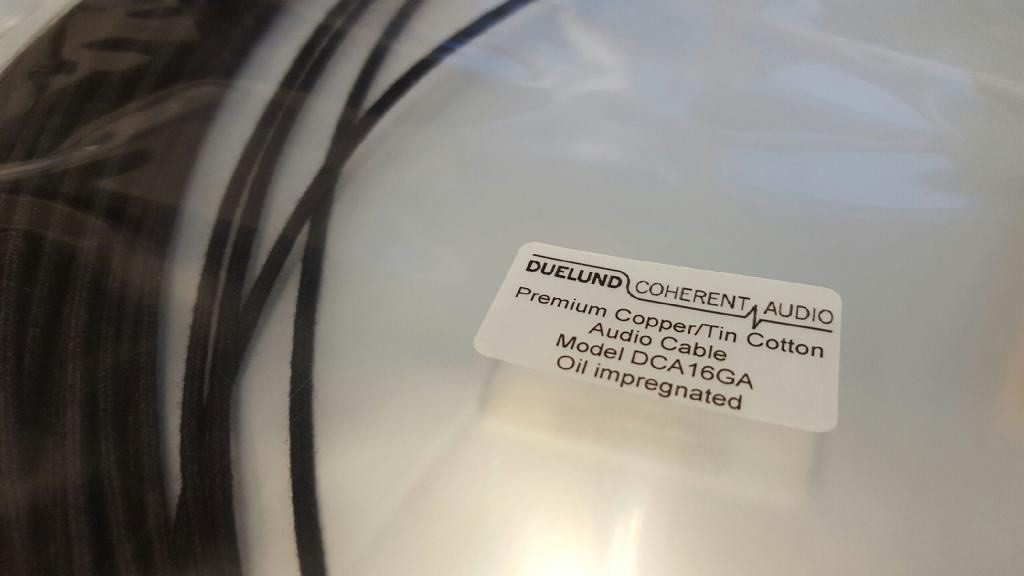 Duelund Coherent Audio vintage-style DCA16GA tinned-copper wire that I use for speaker cables and interconnects.