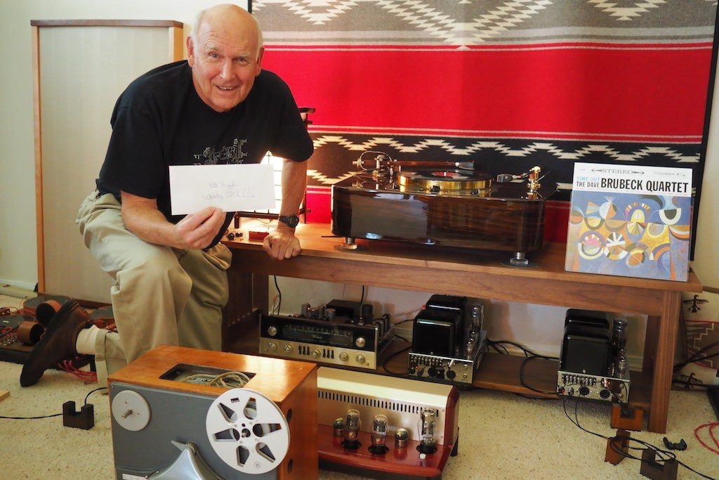 Pete Riggle at Jeff's Place with an envelope full of cash from me for the 12.5-inch Woody SPU Tonearm.