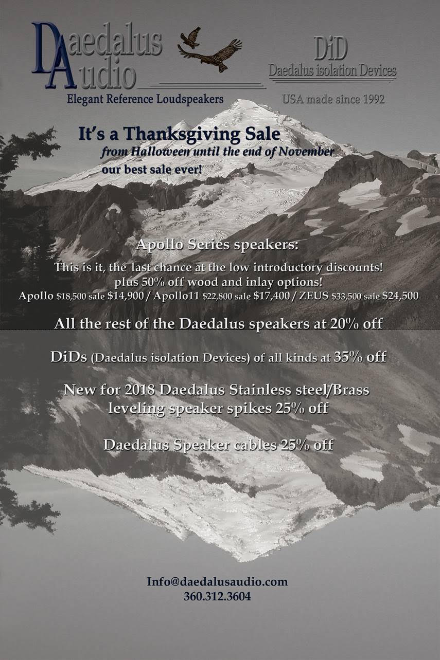 A One of a Kind Sale this Thanksgiving from Daedalus Audio